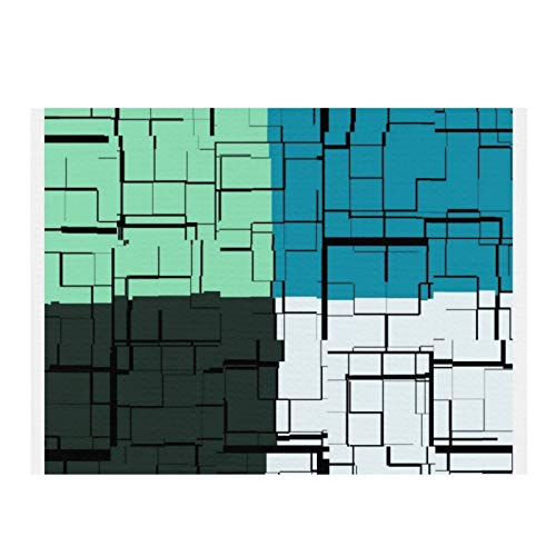 Alfombrilla de secado de microfibra para cocina, color blanco, verde azulado, azul, patrón moderno, súper absorbente, secado rápido, almohadilla de secado de 15,7 x 11,20,3 cm
