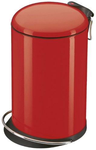 Hailo TOPdesign M, Mülleimer aus Stahlblech, 13 Liter, breite Metall-Fußreling, Müllbeutel-Klemmung, Metall-Tragegriff, made in Germany, 0516-530