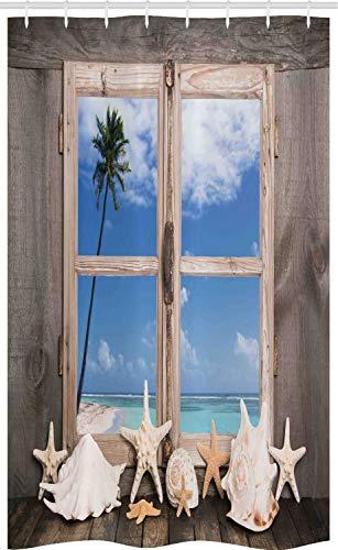 ABAKUHAUS Strand Schmaler Duschvorhang, Muscheln Palmen Meeresblick, Badezimmer Deko Set aus Stoff mit Haken, 120 x 180 cm, Hellbraun Himmelblau Beige & Seafoam