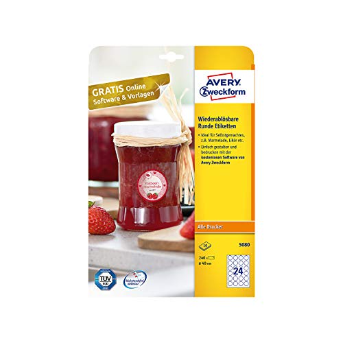 AVERY Zweckform Marmeladenetiketten Art. 5080 (240 Aufkleber ablösbar, Ø 40mm auf A4, rund, für Gewürz oder Einmachgläser, Gebäcktüten, Geschenke und Selbstgemachtes aus der Küche) 10 Blatt weiß