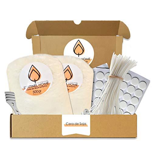 Kit para fabricar velas de soja naturales (Cera de soja natural 1KG), 50 Mechas sin humo, 60 Pegatinas de doble cara, 1 Centrador inoxidable para mejorar la rigidez.