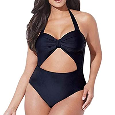 RAINED-Women Plus Size One Piece Bikini Sexy Hollow Out Bathing Suit Solid Color Swimsuit Strappy Halter Swimwear