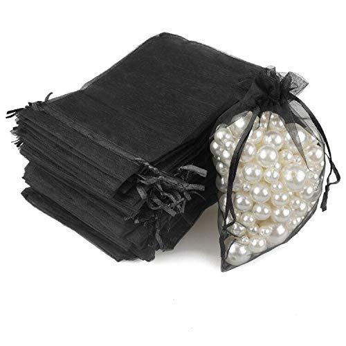 G2PLUS 100PCS Bolsas de Organza Negro Bolsas de Organza de Regalo Bolsitas de Tela para Boda Favores y Joyas 10x15cm