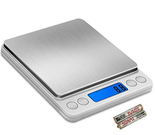 DigitaleKüchenwaageWaageBacken Food Scale Gewicht Gramm oz zumKücheBackenKochenBabynahrung, 2 kg (70 Unzen) auf 0,1 g (0,003 Unzen) wiegen, Mini-Waage Upgraded Edelstahll