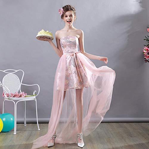 YT-RE Rosa Kleid Vorne Kurz Lang Lang Organza Brautkleid Brautjungfer Kleid Bunt Stickerei Trägerlosen Brautkleid, Rosa, XL