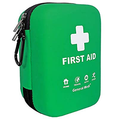First Aid Kit - 170 Pieces Hard Case and Lightweight - Includes 2 x Eyewash,Instant Cold Pack,Emergency Blanket, CPR Face Mask for Travel, Home, Office, Vehicle, Camping, Workplace & Outdoor (Green) by HANGZHOU AOSI HEALTHCARE CO.,LTD