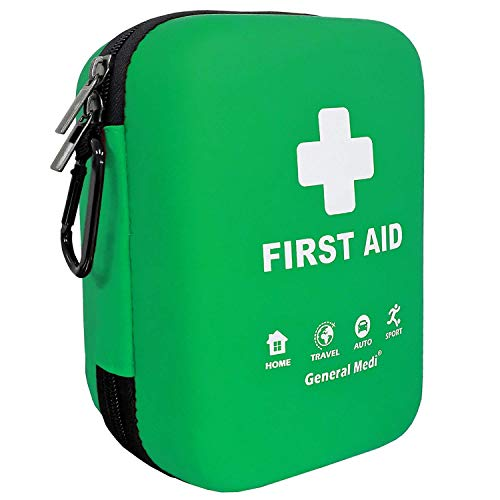 First Aid Kit - 170 Pieces Hard Case and Lightweight - Includes 2 x Eyewash,Instant Cold Pack,Emergency Blanket for Travel, Home, Office, Vehicle, Camping, Workplace & Outdoor (Green)