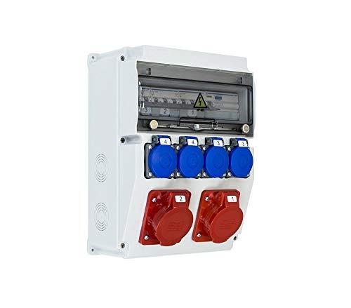 Caja de obras trifásica ASTAT 121 Plus IP65 2x16A/5P, 2x230V SCHUKO IP44, disyuntores HAGER EDO777148