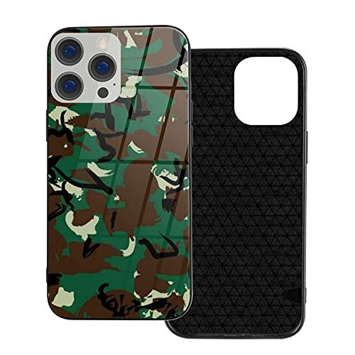 Camouflage Design Blue2 Vetro Cassa Del Telefono per iPhone 12, per iPhone 12 Stampa Caso di Protezione Caduta, doppio aggiornamento Caso Della Copertura per iPhone 12 6.1 pollice