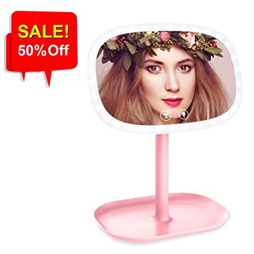 LED Espejo de Maquillaje Aumento 1X/ 10X, 37 LED Luces Ajustables, USB...