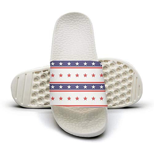 Women's Best Slipper American President Day Stars Colored USA Flag White Slip Resistance Open Toe Flat Shower Slides Shoes