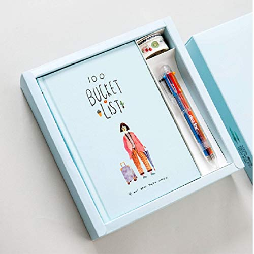 Zhongcheng Memorandum Planner Agenda Scheduler Notebook Papelería Regalo con bolígrafo y Pegatinas (Verde) (Color : Sky Blue)