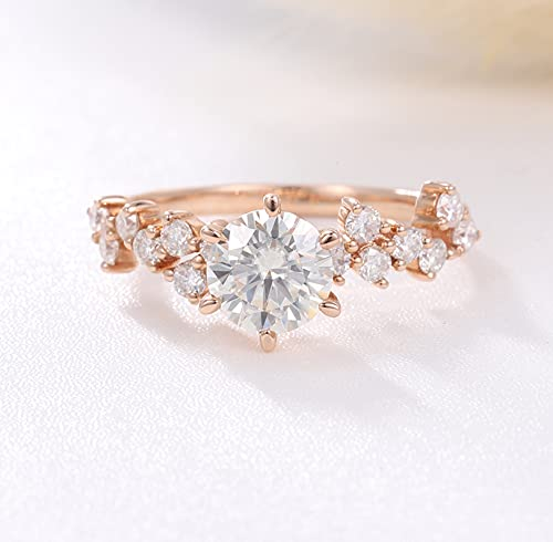 14K Gold 1ct Brilliant Round Moisanite Solitaire Engagement Ring Settings Anniversary Cluster Diamond Classic Wedding Promise Proposal Gift For Girlfriend