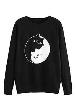 MakeMeChic Women s Cute Graphic Cat Print Casual Long Sleeve Pullover Sweatshirt Tops A Black XL