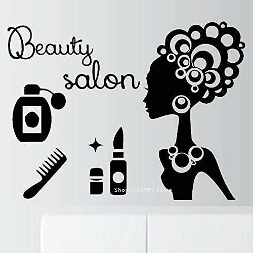 SSCLOCK Belleza Vinilo Pared calcomanía lápiz Labial Peine Pegatina de Perfume salón de Belleza cosméticos peluquería Modelo Logo Estilista de Cabello 56x42cm