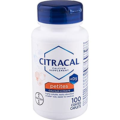 Citracal Petites, Highly Soluble, Easily Digested, 400 mg Calcium Citrate With 500 IU Vitamin D3, Bone Health Supplement for Adults, Relatively Small Easy-to-Swallow Caplets, 100 Count