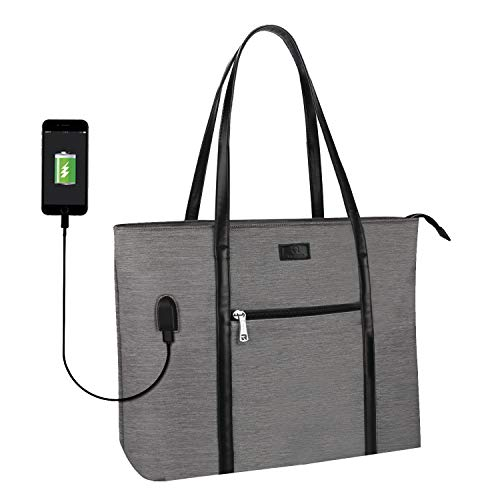 Laptop Tote Bag, Large Women Work Bag Purse USB Teacher Bag Fits 15.6 Inch Laptop (15.6 Inch, A Gray)
