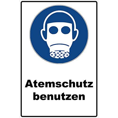Schild Atemschutz benutzen Schild Gebotszeichen blau 30 x 20 x 0,3 cm Hartschaumplatte