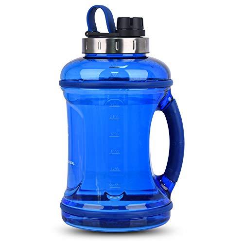 FORWEWAY 2,2L / 3,2L Große Sport Trinkflasche Motivation Wasserflasche mit Weicher Gummi Griff BPA-frei Auslaufsicher Edelstahldeckel Großer Flaschenmund, Ideal für Gym Fitness Büro Heim