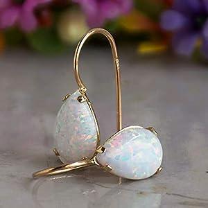 Dainty White Opal Teardrop Gemstone Drop Earrings, Gold, October Birthstone