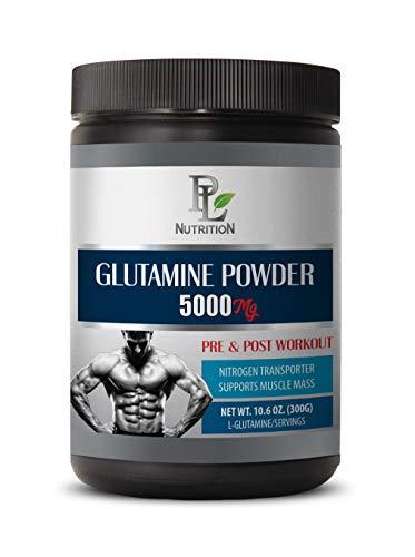 Best Supplement for Muscle Pump - L-GLUTAMINE Powder 5000 MG - PRE & Post Workout - l-glutamine bulksupplements - 1 Can 300 Grams