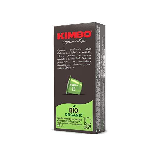 Kimbo Capsule di Caffè Biologico, Compatibile con Nespresso, 10 Pacchi da 10 Capsule (Totale 100 Capsule)