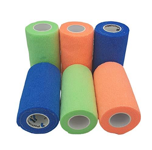 PintoMed Bendaggio COESIVO - 2 Orange + 2 Blu+ 2 Verde Neon - 6 Rotoli x 10 cm x 4,5 m Cerotto Flessibili, di qualità Professionale, di Primo Soccorso, lesioni Sportive