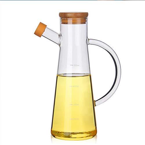 Dispensador de Aceite, Botella de dispensación de Aceituna Vidrio a Prueba de Fugas Vinagre de vinagre CHARAFE para Cocina DE Cocina con Juego DE CONTENEDOR DE Tapa DE Madera, Vidrio de borosilicato