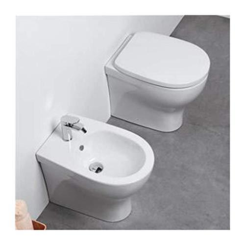 Sanitari Filo parete Ceramica Azzurra Pratica WC e BIDET con sedile SOFT CLOSE Filo muro Offerta