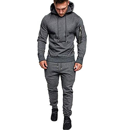 Sonnena 2 Piezas Jackets con Capucha para Hombre Conjuntos Otoño Traje Blazer Chaqueta De Abrigo Tops Hombre para Jogging