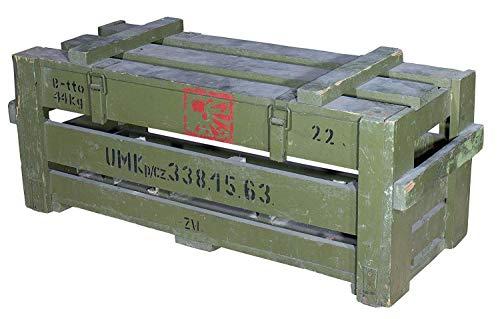 Historische Munitionskiste in grüner Optik - alte gebrauchte Originale Holztruhe Munikiste Transportkiste Patronenkast Sitzbank Wäschetruhe Couchtisch antik 87x36x34cm