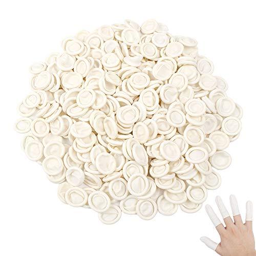 300 Stück Einweg Handschuhe Latex Fingerlinge wasserdicht Fingerschutz Fingerspitzenabdeckung für Tattoo Schönheit Reinigung Schmuck (Weiß)