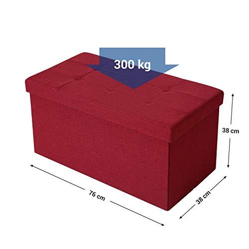 SONGMICS Sitzbank mit Stauraum, Truhe mit Deckel, faltbares Sitzmöbel, Bett, Schlafzimmer, Flur, platzsparend, 80L Fassungsvermögen, stabil bis 300 kg, gepolstert, rot LSF47RD - 5