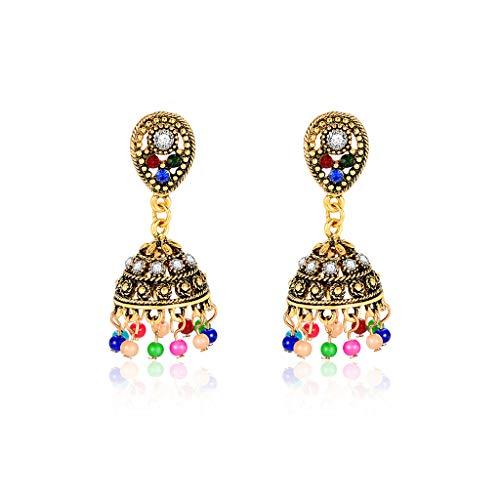 Jingmeizi - Pendientes étnicos antiguos vintage coloridos abalorios colgantes de borla tallados indios para mujer, joyería floral con diamantes de imitación de lujo, regalos turcos
