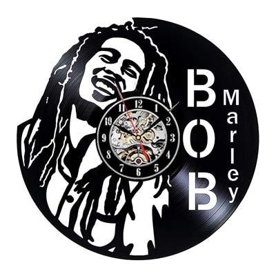 qweqweq Reloj de Pared Bob Marley, un Reloj de Pared Antiguo con un Tema Musical y un diseño Moderno, un Reloj de Pared para la decoración del hogar, un Regalo para los Amantes de la música.