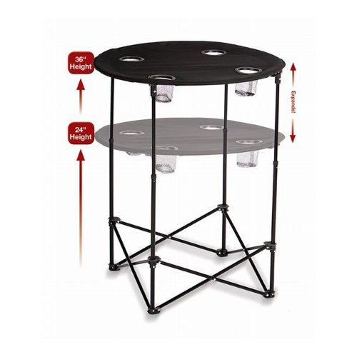 Picnic Plus Portable Round Tailgate Table Extends from 24quot to 36quot