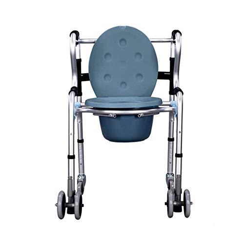 Adesign Ancianos Silla con Orinal Plegable Silla con Orinal Embarazada Mujer con discapacidad aleación de Aluminio del Inodoro con Ruedas