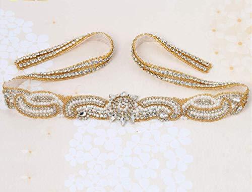 XINFANGXIU Rhinestone Applique,Crystal Applique for Bridal Sash, Diamante Applique, Bridal Applique, Wedding Applique, Pearl Beaded, Wedding Belt