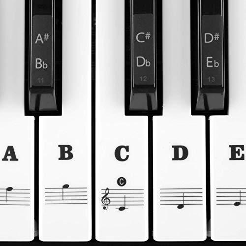 Klavier Keyboard Aufkleber für 54/61 / 76/88 Tasten Noten Piano Sticker für weiße & schwarze Tasten Transparent und abnehmbar (Schwarz)