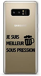 ZOKKO Case for Samsung Note 8 Je suis Meilleur sous pression Transparent Soft Ink Black