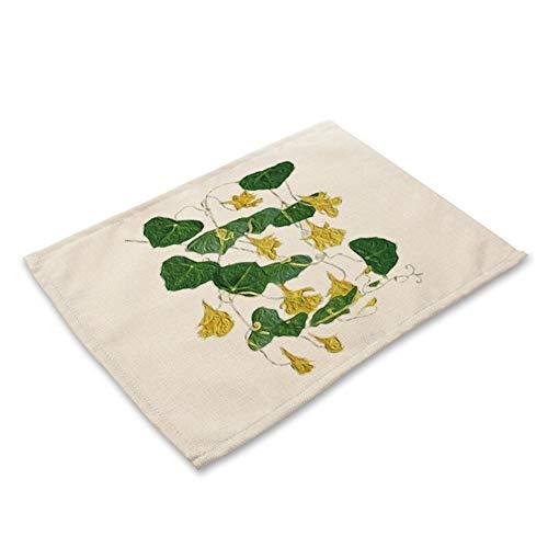 LDGR 1Pcs Grünes Blatt Pflanze Muster Küche Tischset Coaster Esstisch Mats Baumwollleinen Pad Bowl-Schalen-Matte 42 * 32cm Home Decor (Color : T)