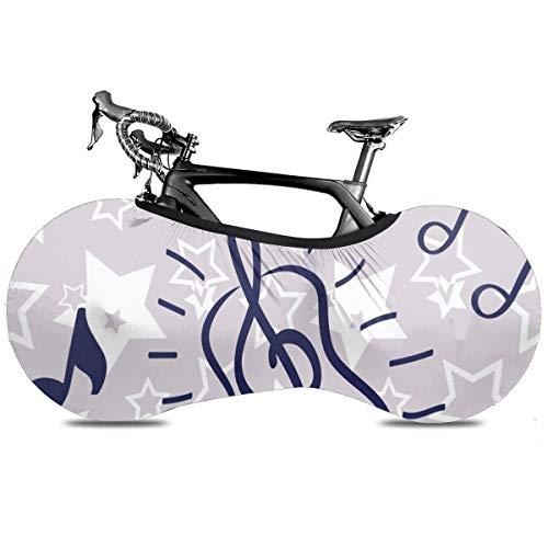 La Moda Africana Mujer Portátil Cubierta de Bicicleta Interior Anti Polvo Alta Elástica Rueda Cubierta de Bicicleta Protector Rip Stop Neumático Carretera Mtb Bolsa de Almacenamiento, Clave de música abstracta, talla única