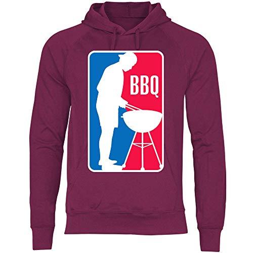wowshirt Herren Hoodie BBQ League Liga Grillen Barbecue Grill Griller Grillmeister, Größe:XXL, Farbe:Burgundy