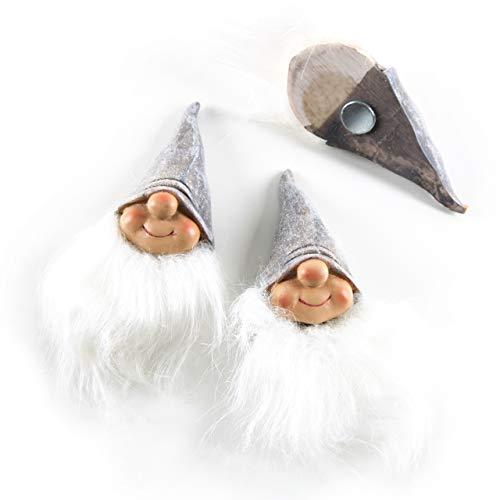 Logbuch-Verlag grote kabouters magneten kerstboog decoratie kerst voor koelkast 11 cm wit grijs Santa Kerstman Kerstman Kerstmis Kerstmis Kerstcadeau