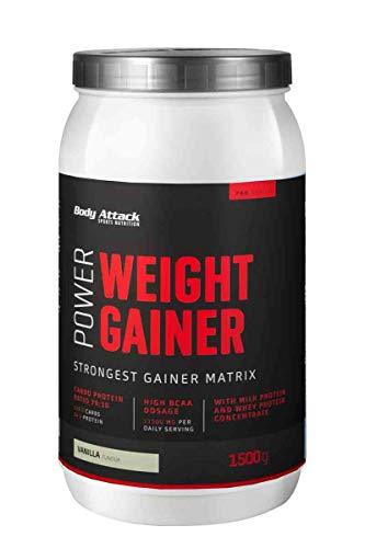 Body Attack Power Weight Gainer, Chocolate, 1,5 kg, 100{5db5f4ac26478dca5b926da858847fd4bff10e5a7849d5f34aaa27684ca7c465} Masseaufbau, Kohlenhydrat-Eiweißpulver zum Muskelaufbau mit Whey-Protein, ideal für Hardgainer