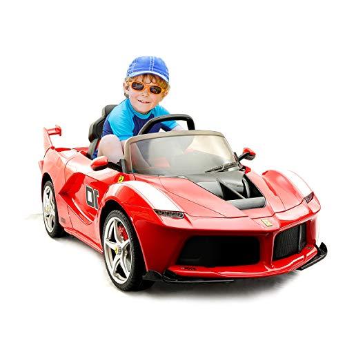 COSTWAY 12V Laferrari Eletro Kinderauto mit 2,4G Fernbedienung | Musik | LED Lichter | Soundeffekt | AUX-Schnittstelle | 2 Geschwindigkeiten | Vorwärts- und Rückwärtsgang | 2 Türen zum Öffnen