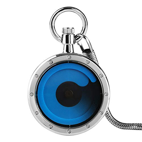 YJRIC Taschenuhr Mode Zukunft Grafik Sinn Mahlstrom Gesicht Quarz Taschenuhr Silber Gehäuse Kreative Unisex Uhren NewWomen Uhr, Blau