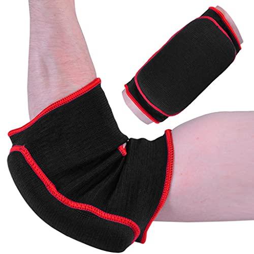 M.A.R International Ltd. Ellenbogenschoner aus elastischem Stoff, für Kampfsport, Karate, Taekwondo, Boxen, Kickboxen, Thaiboxen, Muay Thai, Schwarz, Größe XL
