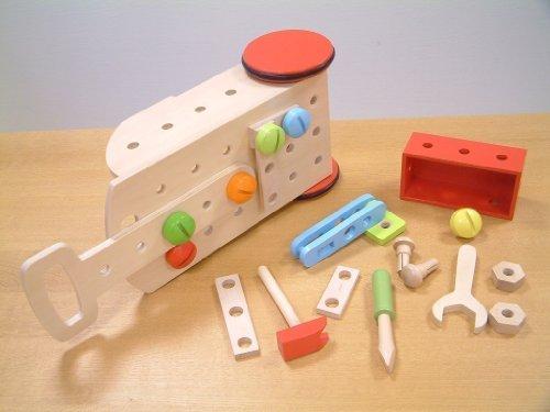 Werkzeugwagen/Werkzeug-Trolly inkl. Zubehör aus Holz / Maße: 40 x 10 x 20 cm / für Kinder ab 3 Jahren geeignet