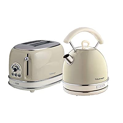 Ariete ARPK10 Retro Style Dome Kettle and 2 Slice Toaster Set, Vintage Design